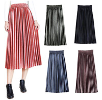Women's Casual Midi Pleated Skirt Ladies Elastic High Waist Velvet Skirt Dresses