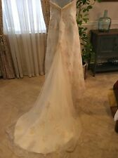DAVIDS BRIDAL SIGNATURE WEDDING GOWN Monique LuoCQ102 Ivory/ChampagneBeaded $950