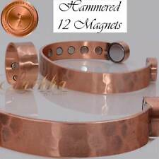 Cu+Bio 12+4 MAGNETS PURE COPPER HAMMERED BRACELET BANGLE ARTHRITIS +RING CB44