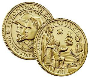 2020 W - Mayflower 400th Anniversary $10 Gold Reverse Proof Coin 20XC