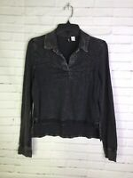 Urban Outfitters BDG Womens Size S Faded Black Gray High Low Collared Shirt Top