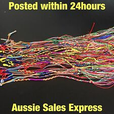 8x Bracelet Woven Coloured Braid Friendship Fun Party Anklet Guys Girls