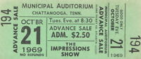 CURTIS MAYFIELD / THE IMPRESSIONS 1969 TOUR UNUSED CHATTANOOGA CONCERT TICKET