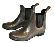 London Fog Chelsea Rain Boots Size 7 Womens Bronze Glitter Ankle Shoes New