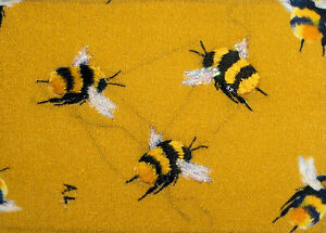 """*YEARLY SALE* ACEO Original """"Three Bumblebees"""" Silk Hand Embroidery - A Lobban"""