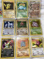 90' Vintage Pokemon Card Lot 9 Pikachu 81/132 Venusaur 18/130 11/102 54/64 61/64