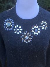 J. Crew Jeweled Donegal Sweater in SLATE Donegal NWT Size M
