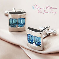18K White Gold GP Made With Swarovski Element Elegant Aquamarine Men's Cufflinks