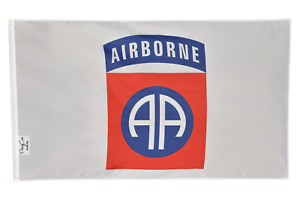 WHITE 82nd Airborne Flag Polyester 3x5 FT Banner Grommets Man Cave Garage Army