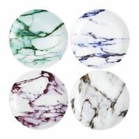 Prouna marbled 24K gold accent assorted canape plate set of 4 blue purple green