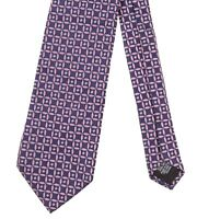 Hugo Boss Made in ITALY Purple Pink Blue Rhombus Geometric Woven Silk Tie