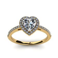 Heart 0.70 Ct Real Diamond Engagement Ring Solid 18K Yellow Gold Size 5 6 7 8 9