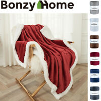 Sherpa Faux Fur& Flannel Queen/Twin/Throw Blanket in 6 Colors Cozy Bed Blanket