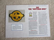 """Willabee & Ward 1945 """"Ruptured Duck"""" Baseball Cooperstown Collection Patch"""