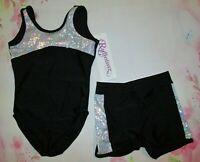 NEW Girls Size 3-4 XS XXS Toddler Leotard Shorts Set Dance Gymnastics 3 Choices!