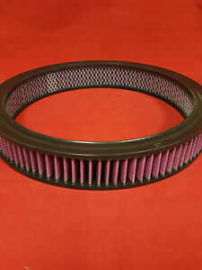 """14"""" x 2"""" Round Washable Element Red Wire Mesh Air Cleaner Filter Camaro Mustang"""