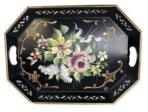 Vintage Hand Painted Flowers Chippendale Metal Toleware Tray Black Rectangular