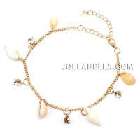 Cowrie Sea Shell Charm Ankle Bracelet Rhinestone Anklet Jewelry Beach Ocean Gold
