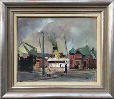 EXPRESSIONIST-Hans Ripa * 1912 vaporetti nel porto-collages Svezia 56 x 65 cm