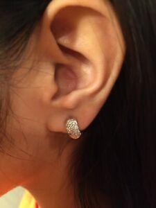 14k Yellow Gold Diamond Pave Huggie Hoop Earrings Appraised At $1,300