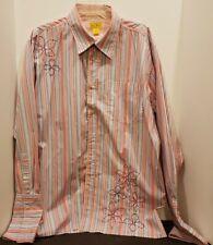 P.J. Mark XL Pink Blue White Stripe Poly/Cotton French Cuff Men's Shirt