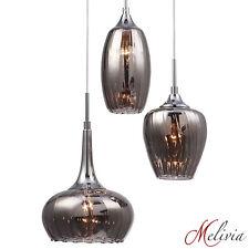 Hängelampe Pendelleuchte Glas Grau Deckenlampe 3x40W Hängeleuchte Lampe Rauchig