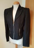 ladies MARIO OMAR LONDON black jacket size 12 textured zip up