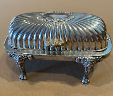 Vintage Silver Plate Flip Top Covered Butter Dish