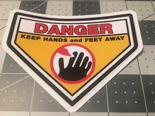 """Danger Keep Hands and Feet Away Decal Like 1970's Snapper And Others 4"""""""