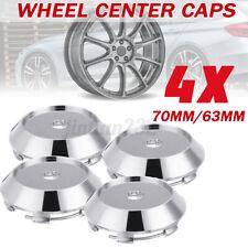 4Pcs Universal Car Chrome 70mm/63mm Wheel Center Hubs Caps Rim Covers Sticker E