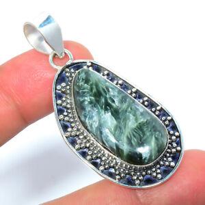 """Seraphinite - Russia Gemstone 925 Sterling Silver Pendant 1.99"""" LBP-520"""
