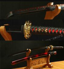 41' DAMASCUS FOLDED STEEL CLAY TEMPERED BLACK JAPANESE SAMURAI SWORD KATANA