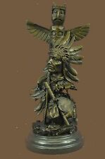 Native American Indian Totem Pole Signed Original Bronze Sculpture Statue Decor