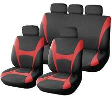 XtremeAuto® 9 Piece Red and Black Classic Supreme Seat Covers - Soft Fabric