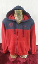 Tommy Hilfiger Mens Hoodie Red Navy Cotton Large Logo Drawstring