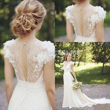 V Neck A-line Short Sleeve Wedding Dresses