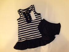 NWT Girls Ralph Lauren Polo Navy White Stripe Cotton Dress 12M NEW