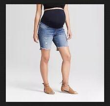 Ingrid /& Isabel Maternity Crossover Inset Panel Midi Jean Shorts Black 0-18 #7