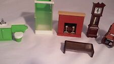 Fisher Price Loving Family Dollhouse furniture lot 6 pieces Bathroom Living Rm
