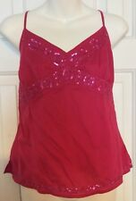 AMERICAN EAGLE Ladies 14 Shirt Tunic Tank Top Cami Sequin Pinkish Red Women's