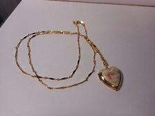 "Pink Rose Porcelain Front Gold Tone Heart Locket Pendant Necklace 30"" Chain"