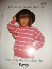 Growing Up's Fun with Peter Pan, Knitting Pattern Brochure, 3 Designs,