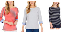 Nautica Women Ladies' 3/4 Cuff Sleeve Classic Casual Top Blouse S M L XL