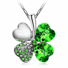 Lucky Women Lady Girl Clover Crystal Pendant Chain Lovely Shinning Necklace New
