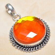 "Handmade Rainbow Mystical Fire Topaz 925 Sterling Silver Pendant 1.75"" #P04998"
