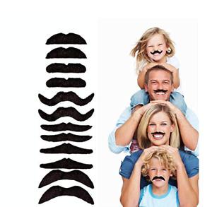 Halloween 12PCS Black Mustache Moustache Funny Fake Beard Whisker Cosplay Party
