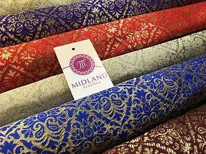 "Indian Metallic Ornamental Jacquard faux silk banarsi Brocade 44"" Wide M605"
