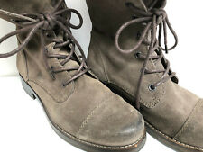 All Saints Distressed Taupe Suede Leather Combat Boots Back Zip Lace Up Sz 38