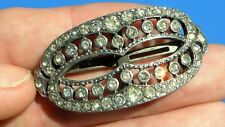 Antique Art Deco Large Paste Silver Buckle Brooch