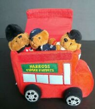 Harrods London Plush Teddy Bear Police Finger Puppets and Double Decker Bus